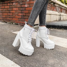 $enCountryForm.capitalKeyWord Australia - Lace Up Cross Tied Platform High Heels Ankle Boots for Women White Black Blue Block Heel Shoes Punk Gothic Combat Boots YMA895