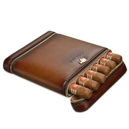 mini cigar case Australia - COHIBA Brown Leather Zipper Travel Cigar Case Mini Humidor Holds 6 Cigars Leather Cedar Wood built in humidifier