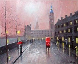 london home decor UK - London Cartoon Cityscape Giclee Hand Painted Art On Canvas Home Decor Oil Painting Wall Art Picture