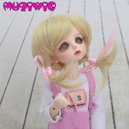 $enCountryForm.capitalKeyWord Australia - MUZIWIG Kids Gifts High Quality Synthetic Blonde Fashion Hair With 2 Pink Bows Wig Accessories for 1 6 BJD Free Shipping