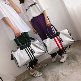 Men leather tote bags online shopping - PU Leather Silver Stripe Travel Bag Fashion Unisex Duffle Bag Men Women Large Capacity Luggage Shoulder Bag Gym Handbag Totes AAA1538