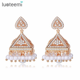 3fb81bf39 UOTEEMI India Tessial Drop Earrings for Women Tower Imitation Pearl Bridal  Wedding Jhumka Jhumki CZ Stone Brinco Bijoux Femme LUOTEEMI In..