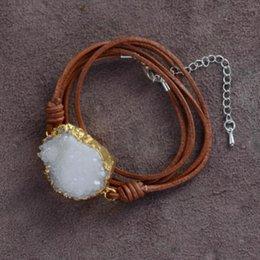 $enCountryForm.capitalKeyWord Australia - top Gilded Druzy Charm Wrap Bracelets Wholesale Handmade Bohemia Drusy Bracelet Leather Jewelry Dropship Custom jewelry