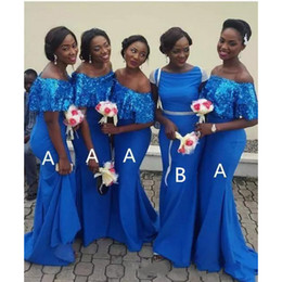 Slim mermaid brideSmaid dreSS online shopping - 2019 African Slim Mermaid Bridesmaid Dresses Bling Sequins Long Formal Maid of Honor Dresses Off the Shoulder Wedding Guest Party Gowns