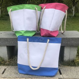 Stripe canvaS tote beach bagS online shopping - Women s Canvas Handbag Rope Tote Color Stripes Beach Bag Designer Handbag Large Capacity Shoulder Bag Hemp Rope Shopping Big Totes A52005