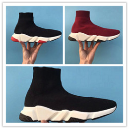 best high top shoes men 2019 - Best Quality Speed Trainer Boots Socks Stretch-Knit High Top Trainer Shoes Cheap Sneaker Black White Woman Man Couples S