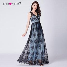 $enCountryForm.capitalKeyWord Australia - Lace Evening Dresses Long Ever Pretty Cheap A-line Sleeveless V-neck Formal Party Gowns Sexy Illusion Elegant Robe De