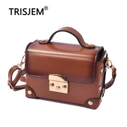 $enCountryForm.capitalKeyWord Australia - Women Famous Brand Box Handbag Fashion Trunk Luxury Pu Leather Bag Small Mini Vintage Retro Design Oil Skin Lock Tote Brown Bags