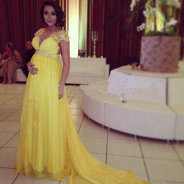 Empire Waist Crystal Beading Australia - Crystals Beaded Yellow Prom Dresses For Pregeant Women New 2019 Empire Waist Sheer Illusion V Neck Plus Size Long Maternity Evening Gowns