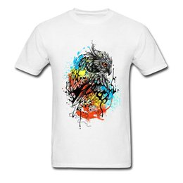 $enCountryForm.capitalKeyWord NZ - Colorful Owl T Shirt Men's Full Cotton Brand Tee Shirts Usa Size Xxxl White Gray Funny Design Animal T Shirt On Sale