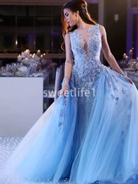 red lace zuhair murad mermaid Australia - 2020 Zuhair Murad Light Sky Blue Evening Dresses Sheer Jewel Neck Lace 3D Flora Appliques Mermaid Detachable Train Formal Occasion Prom Dres