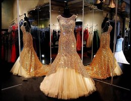 $enCountryForm.capitalKeyWord NZ - Elegant Gold Mermaid Evening Dresses Sweep Train Sparkly Sequins Crystal Beaded Women Formal Wear Glitter Illusion Bodice Trumpet Prom Dress