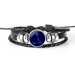Bracelet Fashion Accessories Tungsten UK - New Fashion Vintage 12 Horoscope Zodiac Pisces Time Gem Glass Cabochon Bracelets Womens Mens Genuine Leather Rope Beaded Jewelry Accessories
