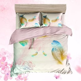 girls twin size bedding sets 2019 - 3D Plumage Series Kids Duvet Set Natural Style Feather Printed Twin Size Bedding White Duvet Pillowcase With Color Print