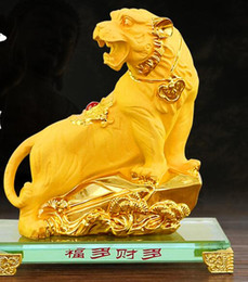 Discount happy birthday decoration home - Yellow Sand Gold and tiger Modeling: Animals Golden tiger Decoration Birthday Gift Home Decoration Desktop Wedding craft