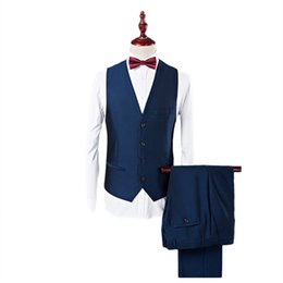 waistcoat trousers UK - YUNCLOS Mens Suits Slim Fit Tuxedo Shawl Lapel Formal 3 Pieces Suit Wedding Prom Tux Jacket Waistcoat & Trousers