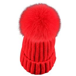 $enCountryForm.capitalKeyWord Australia - Autumn Fox Fur Pompons Bonnet Hats Fashion Winter Women Warm Crochet Knit Thick Hat Beanie Ladies Mink Pom Poms Caps Female