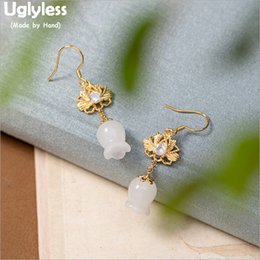 dress real Australia - Uglyless Gold Plated Real 925 Silver Lotus Earrings for Women Natural Jade Lily of the valley Floral Dress Earrings Gems E1811