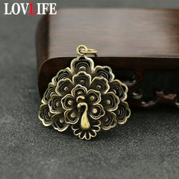brass feathers charms 2019 - Classical Brass Peacock Key Chain Pendants Charm Vintage Pure Copper Hollow Feather Bag Hanging Trinket Car Key Ring Acc