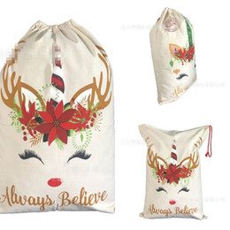 Sack coat online shopping - Drawstring Christmas Cloth Bag Unicorn English Letter Pattern Storage Bags Festival Large Capacity Gifts Sack Hot Selling jz L1
