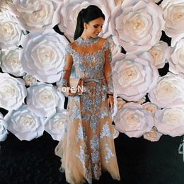 $enCountryForm.capitalKeyWord Australia - Blue Champagne Mermaid Evening Dresses with Detachable Train Long Sleeve Beaded Celebrity Gown Tulle Overskirt Tulle Special Occasion Dress