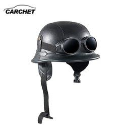 half helmets motorcycle vintage 2019 - CARCHET Vintage Motorcycle Helmets Retro Half Shell Goggle Helmet 56-60cm Unisex Protection Black Helm Matte Racer Motoc
