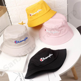 2209bf46af321 Bucket Hat Embroidery Australia - 2019 Ins Kid Champions Letter Bucket Hat  Baby Embroidery Summer Caps