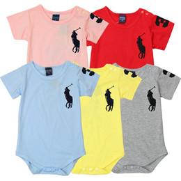 Venta al por mayor de 2019 al por menor 1 unids bebé mameluco polo bebé de una sola pieza triángulo mameluco manga corta mono de una pieza 5 colores