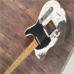 Wholesale t guitars for sale – custom Factory custom Relic White color telr electric guitar Chrome Hardwares Maple fretboard customized T