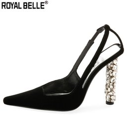royal blue suede shoes women 2020 - Royal Belle Sexy Suede Black High Heels Crystal Bling Heels Pumps Slim Women Single Shoes Shallow Summer Rhinestone Ladi