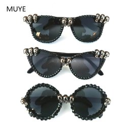 festival sunglasses NZ - Vintage Rhinestone Cat Eye Sunglasses Women Skull Black Punk Sun Glasses for Woman Party Festival Hip Hop Fashion Retro Style