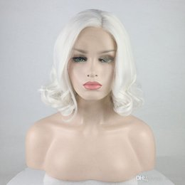 $enCountryForm.capitalKeyWord UK - Synthetic Lace Front Wigs With Baby Hair White Colorfull Short Loose Wave Synthetic Bob Lace Wig Gluess Heat Resistant Fiber Side Parting