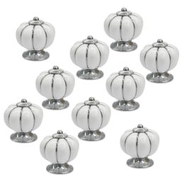 white ceramic cabinet pull handles Australia - Promotion--10Pcs White Round Ceramic Pumpkin Cabinet and Furniture Knobs Pulls Chrome Finished Base Drawer Handles Door Hardware