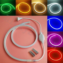 bright neon signs 2019 - AC 220V 2835 LED Neon Tube Flex Strip Rope Light Super Bright 8mm * 16mm 120LEDs m IP67 Waterproof US EU Plug for Club S