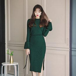 Sweater Skirt Suit Australia - Winter 2 Two Piece Set Flare Sleeve Knitted Sweater and Hip Packaged Skirt Suits Elastic Waist Skirts Tracksuit Warm Pullovers