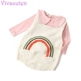 $enCountryForm.capitalKeyWord NZ - New Autumn Baby Girl Knit Romper Princess Girls Knit Jumpsuit Rainbow Print Cute Infant Toddler Newborn Baby Clothes Pajamas J190526