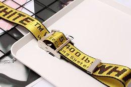 Großhandel off Modische Designer Leinwand Weiß Marke Gürtel Freizeit Golden Yellow Gürtel gut gemachter Canvas Männer Frauen Gürtel Silber Buckle