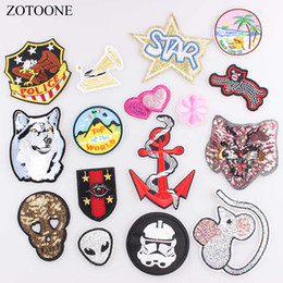 $enCountryForm.capitalKeyWord Australia - ZOTOONE1PCS Sequin Patch Alien Motorcycle Patches Iron on Cartoon Patch Cheap Embroidered Patches for Clothes Jeans Applique C