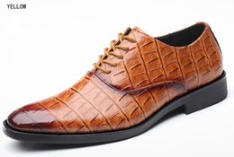 $enCountryForm.capitalKeyWord Australia - Luxury Crocodile Pattern Men Leather Shoes Lace-up Designer Business Casual Leather Shoes Men Formal Wedding Party Shoes