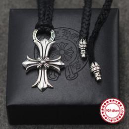 Necklaces Pendants Australia - S925 sterling silver necklaces pendants retro personality classic fashion punk style cowhide rope cross necklace pendants gift