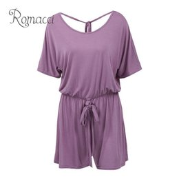 Pink Body Suits Australia - Romacci Sexy Women Summer Jumpsuit Shorts Short Sleeve Backless Plus Size Playsuit Elastic Waist Bandage Casual Romper Body Suit T5190606