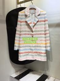 Tweed Suits Blazers Australia - Women's Tweed Blazer Tops Coat With Rainbow Striped Silk Inside Coat Girls The Top Quality Tweed Lapel Neck Coat Runway Female Suits