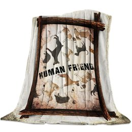 cartoon towel dog NZ - Farm Animal Dog Retro Rustic Throw Blanket Blanket Cartoon Fleece Sofa Bed Plane Travel Plaids Bedding Towel