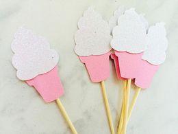$enCountryForm.capitalKeyWord Australia - glitter ice cream cupcake toppers wedding shower birthday, favors, candy table, wedding birthday toothpicks decorations Party Supplies Event