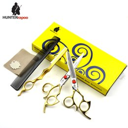 $enCountryForm.capitalKeyWord Australia - HUNTERrapoo HT9172 6inch professional hair cutting and thinning scissors set for barber hairdressing shears GOLDEN