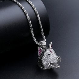 $enCountryForm.capitalKeyWord Australia - Men Copper Fashion Necklace Bling Silver Husky Dog Puppy Pet Animal Unique Pendant Hip Hop Iced Out Jewelry