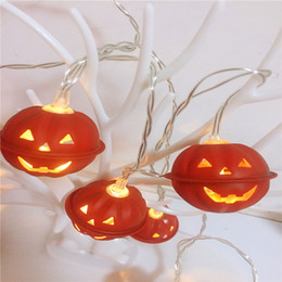 works bell NZ - BRELONG 2M 10LEDs Led halloween wrought iron pumpkin grimace bell battery light skull holiday decoration lights string lights