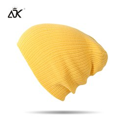 Beanies For Winter Australia - Autumn Winter Beanie Men Women Hats Beanies Solid Color 2018 Warm Stocking Hat For Ladies Striped Knitted Hat Y18110503