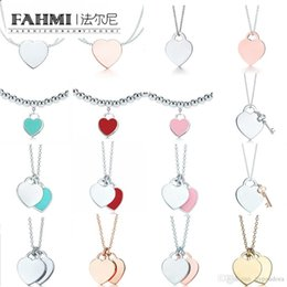 $enCountryForm.capitalKeyWord Australia - FAHMI Charm Gift 925 Sterling Silver Classic Heart Tif Necklace Pink Green Red Gold Rose Gold Silver Jewelry Match World Jewelry