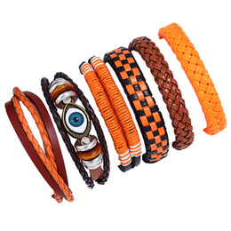 man evil eye bracelet Australia - Vintage Evil Eye Bracelet Multilayer Adjustable Genuine Leather Charm Bangle Cuff for Women Men Wristband Beads Turkish Braided Jewelry Gift